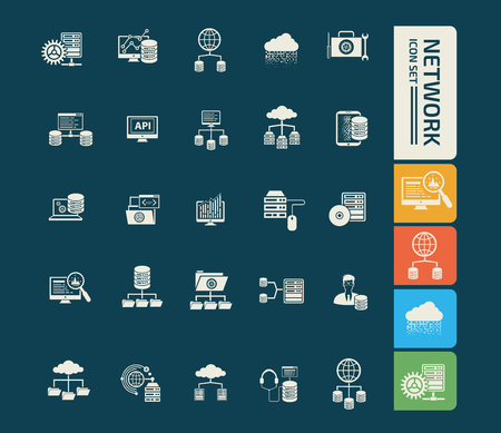 Network icon set vector design Illustration