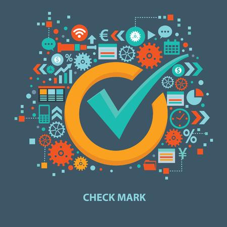 Check mark design in silhouette colored illustration. Imagens - 97661875