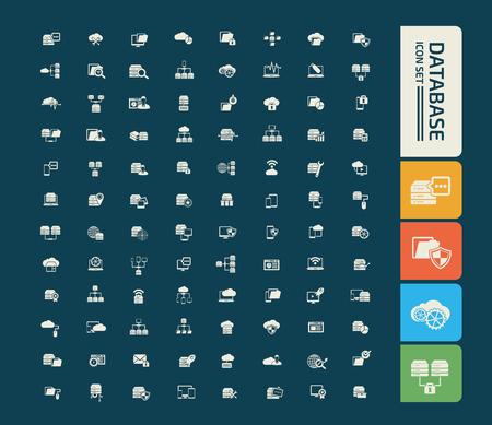 Database icon set vector design Çizim