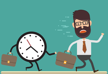Businessman chased by clock concept vector design