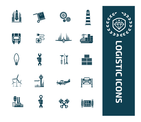 Logistic icon set vector design