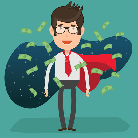 Businessman concept design Vector illustration with man in cape with scattered money. Ilustrace