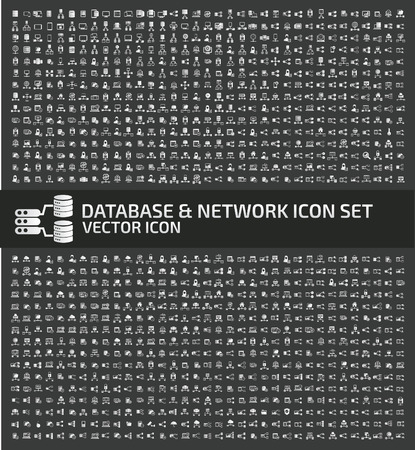Database and network vector icon set.