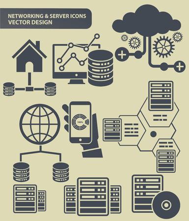 Network vector icon set design Çizim