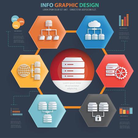 Database vector icon set info graphics Illustration