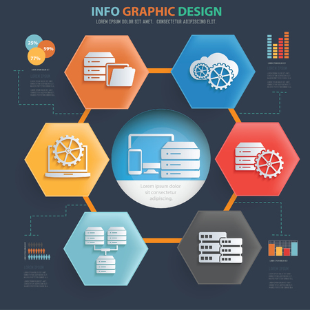 Database and network info graphic vector icon set