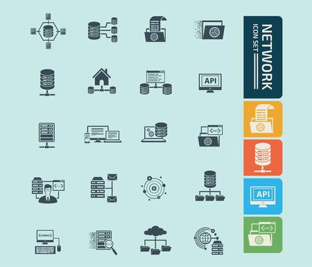 Network icon set vector design Çizim