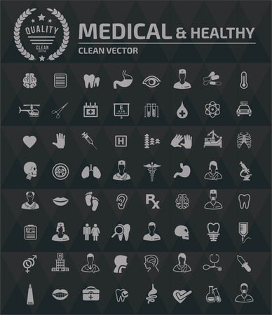 Medical and healthy icon set vector design Illusztráció