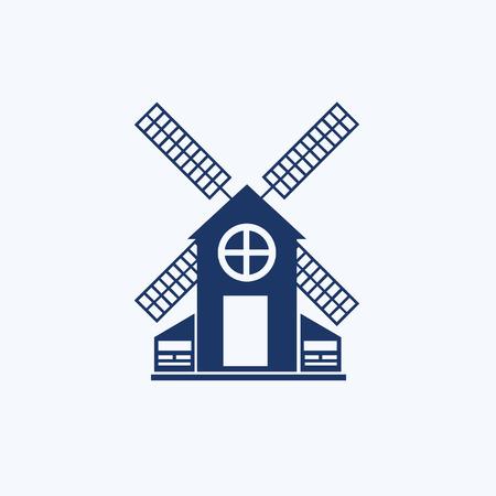 Wind turbine icon concept vector design Çizim