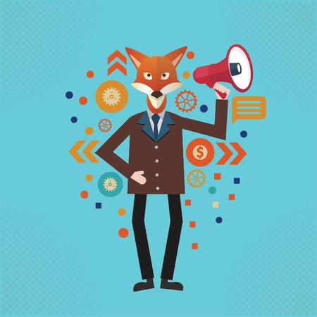 Fox Businessman vector concept design Banque d'images - 115772725