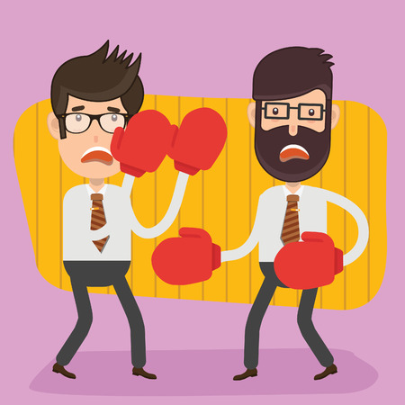 Boxing businessman vector concept design