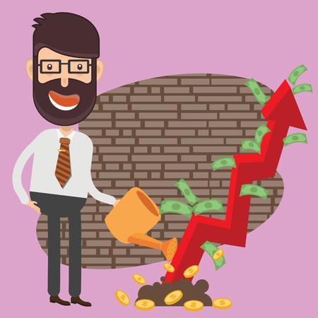 Growth money Businessman vector concept design