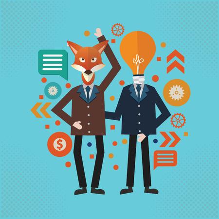 Fox ideas and Businessman vector concept design Vectores