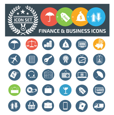 Finance and business icon set vector concept design Illustration