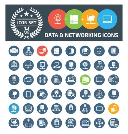 Data and network info graphic vector icon set design Çizim