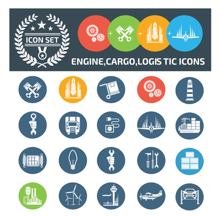 Cargo and logistic icon set vector concept design