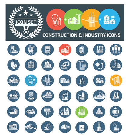 Construction and industrial icon set vector concept design Stock Illustratie