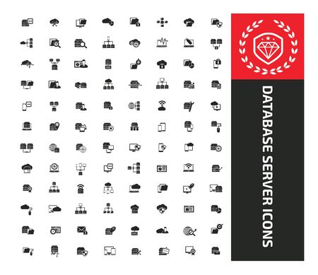 Database and server icon set vector concept design