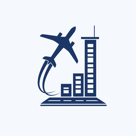 Airplane and airport icon vector design