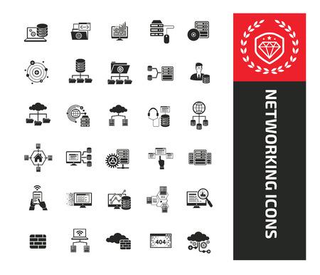 Networking icon set vector design