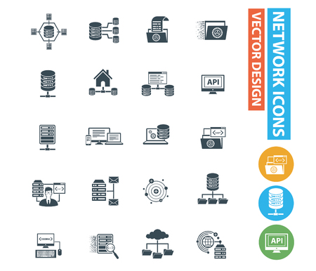 Database and network vector icon design