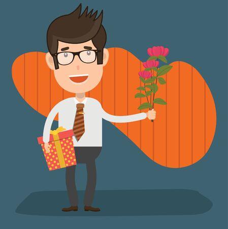 Flower businessman vector concept design Stok Fotoğraf - 129960015