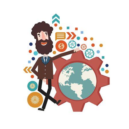 Global businessman vector concept design