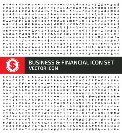 Business and financial icon set vector concept design Çizim