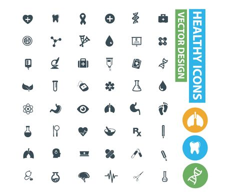 Health care and medical vector icon set design 矢量图像