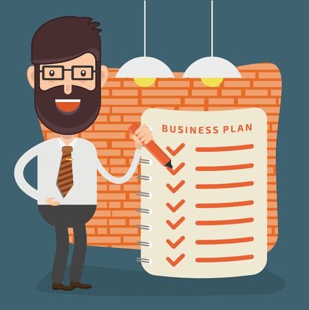 Check list Businessman character concept vector design