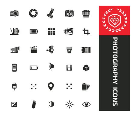 Photography and camera vector icon set design