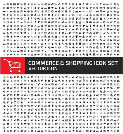 Commercio e shopping icon set vector concept design