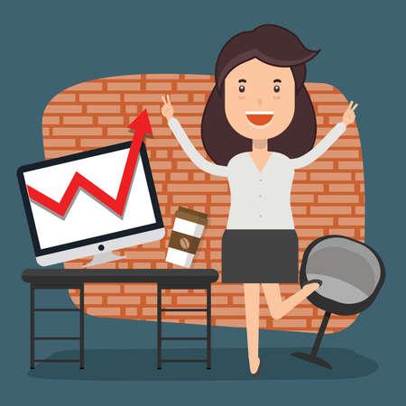 Businesswoman working concept design 矢量图像