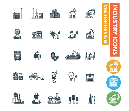 Industry vector icon set Illustration