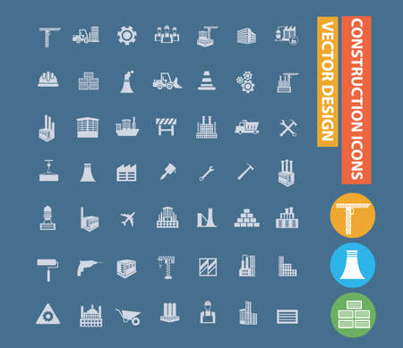 Industrial and construction icon set vector design  イラスト・ベクター素材