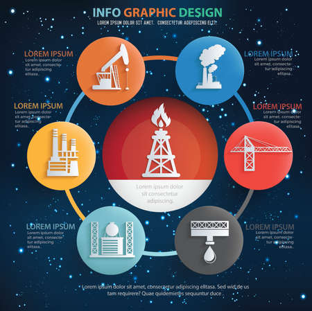Industrial and oil energy infographic icon set vector design