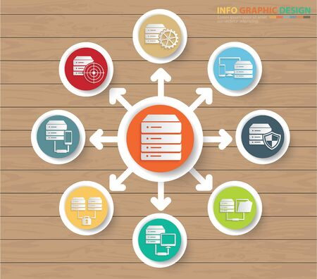 Network and database icon vector infographics design