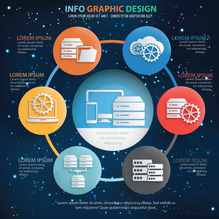 database and network info graphics vector icon set design