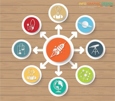 Innovation and science infographics vector icon design Çizim