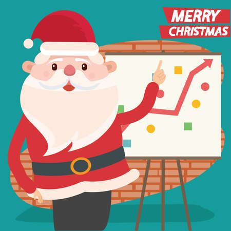 Merry christmas and Santa claus vector concept design  イラスト・ベクター素材