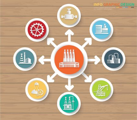 Industrial icon vector infographic design
