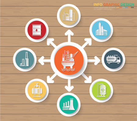 Industrial and building infographics icon set vector design  イラスト・ベクター素材
