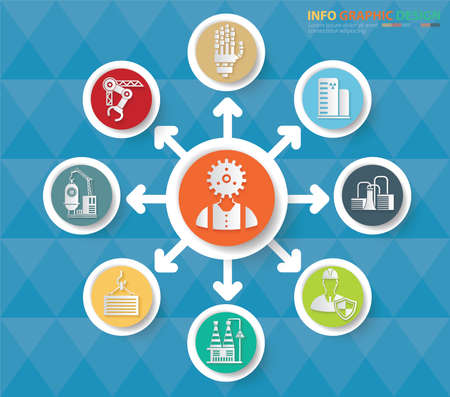 Robot and industry info graphics vector icon design