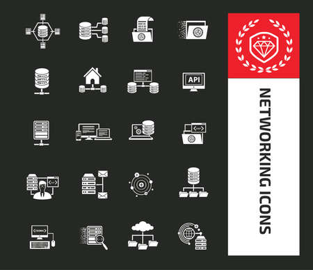 Networking icon set vector design