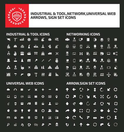 Industrial, network,web and arrows vector icon set design