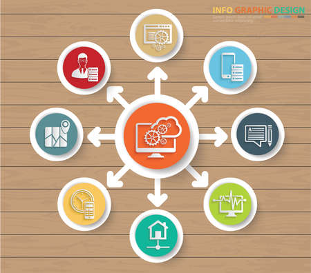 Cloud computing infographics vector graphics design
