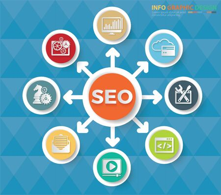 Search Engine Optimisation SEO icons vector icon set design