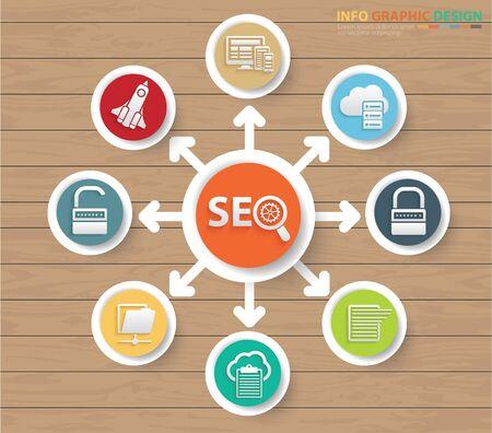 SEO Search engine optimisation  icon set vector concept design Stock Vector - 135854054