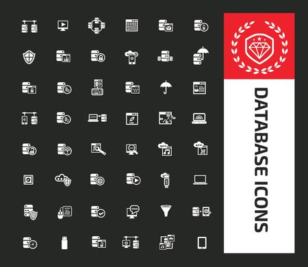 Database and network vector icon set design 矢量图像