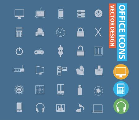 Office vector icon set design